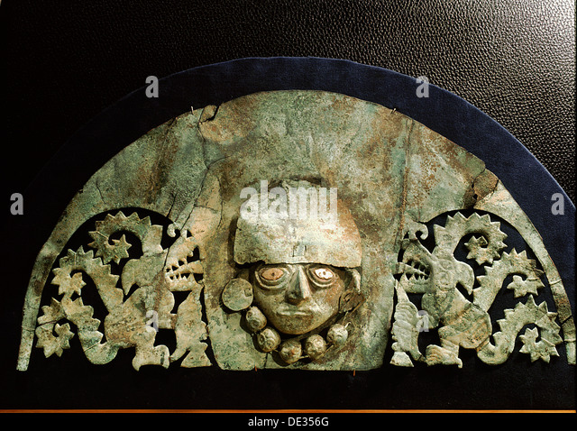 This elaborate silver headdress depicts a scene from Chimu mythology. - Stock Image