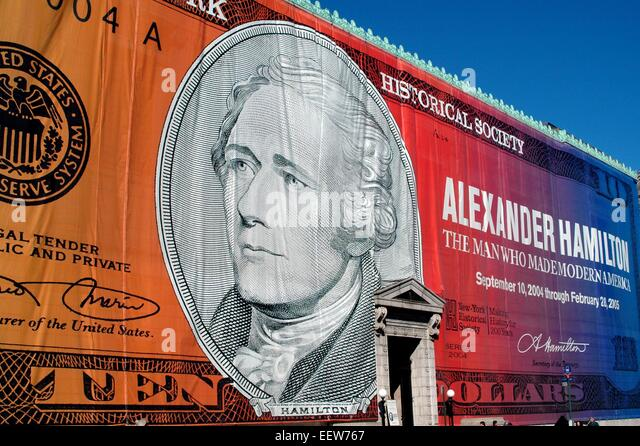 New York City:  A giant silk-screened cloth panel covers the entire east front of the New York Historical Society - Stock Image