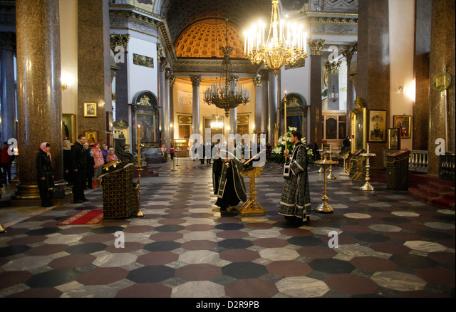 Russian Orthodox Mass in Kazan Cathedral, St. Petersburg, Russia, Europe - Stock Image