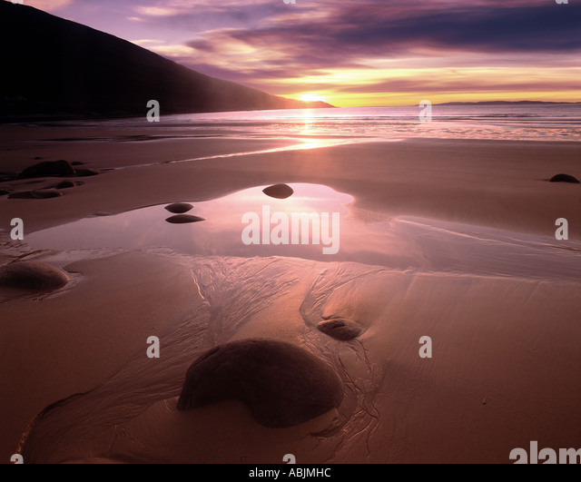 IE - CO.MAYO: Sunset at Doogort Strand on Achill Island - Stock Image