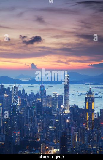 Hong Kong Island skyline at sunset, Hong Kong, China, Asia - Stock Image