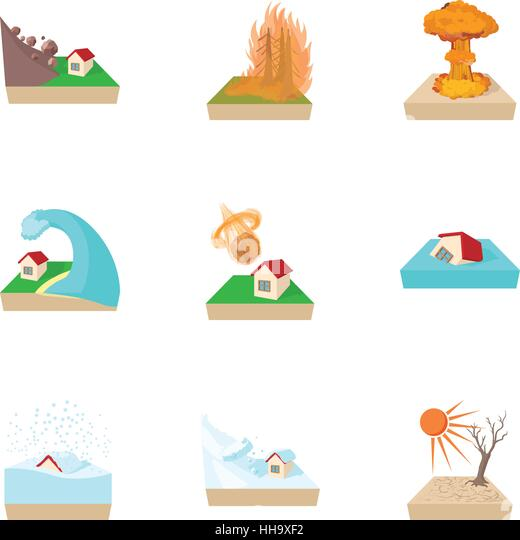 Natural catastrophe icons set, cartoon style - Stock Image