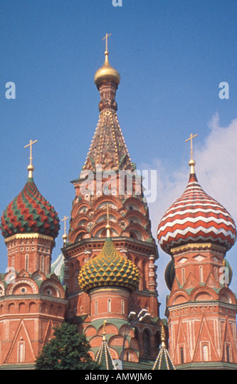 Moscow Russia St Basil's Cathedral Red Square - Stock Image