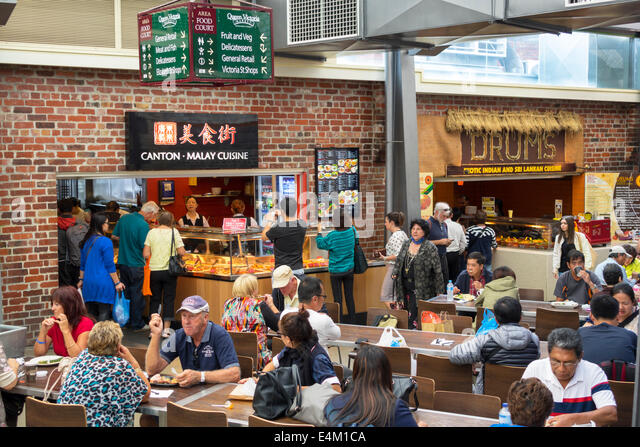 Melbourne Australia Victoria Central Business District CBD Queen Victoria Market food court restaurant tables Canton - Stock Image