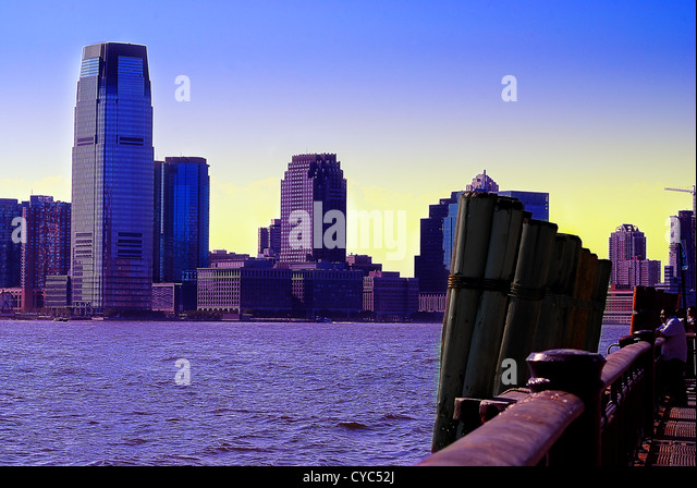 New Jersey office buildings on the Hudson River from Manhattan, New York City. - Stock Image