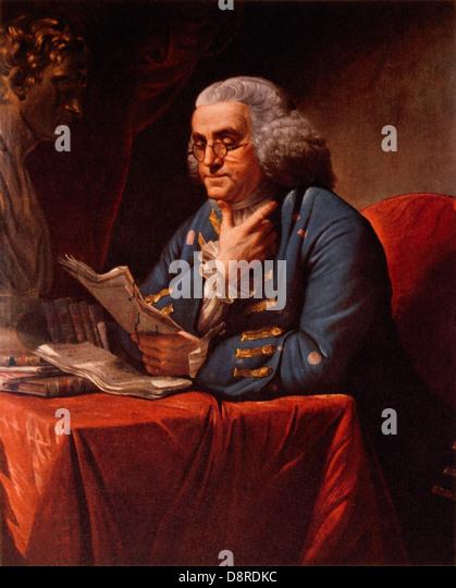Benjamin Franklin (1706-1790), Reading, Portrait, Painting by David Martin, 1767 - Stock Image