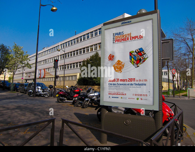 Paris, France, French Advertising, Outdoor Posters, Billboards, near School Building - Stock Image
