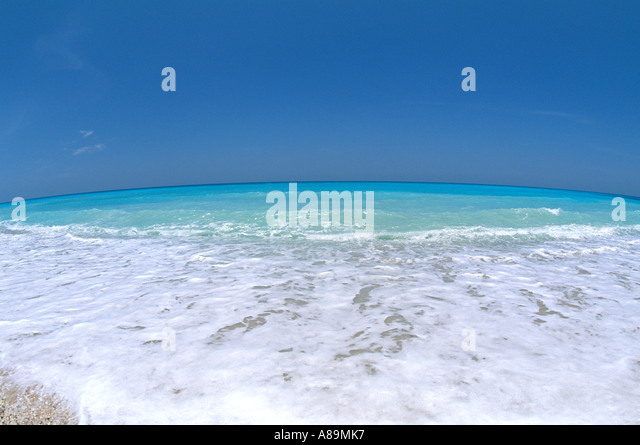 Tropics tropical beach turquoise water fish eye lens - Stock Image