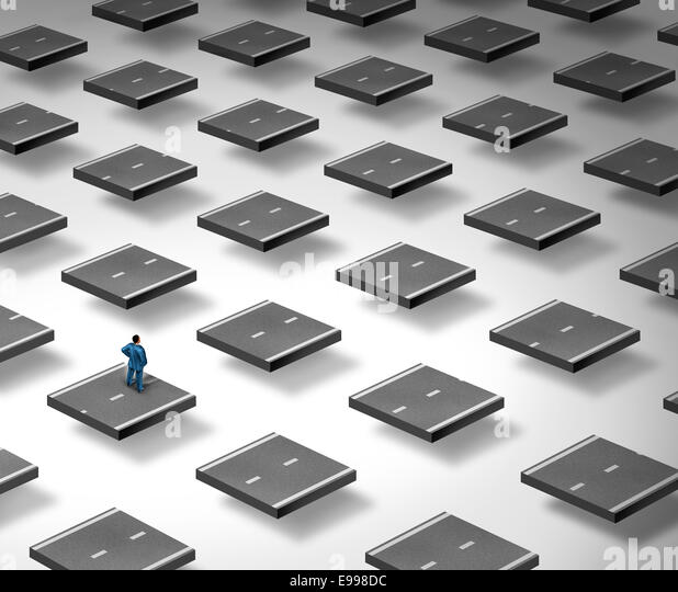 Concept of confusion as a business person standing on a three dimensional broken road as a symbol of strategy challenge - Stock Image