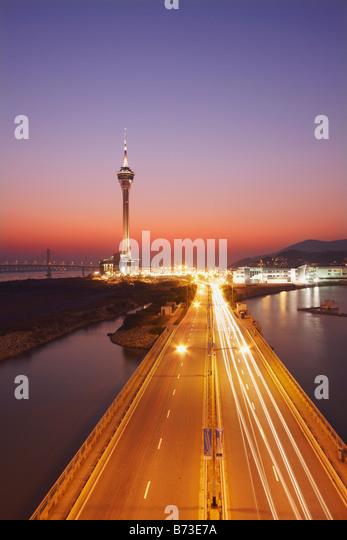 Macau Tower At Sunset - Stock Image