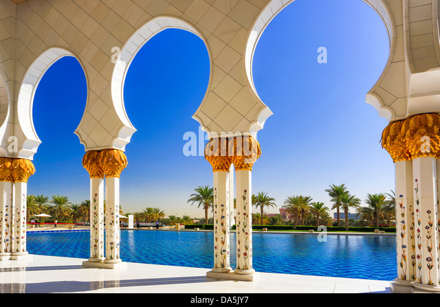 United Arab Emirates, UAE, Middle East, Abu Dhabi, City, Sheikh Zayed, Mosque, Mosque, Zayed, arches, architecture, - Stock Image