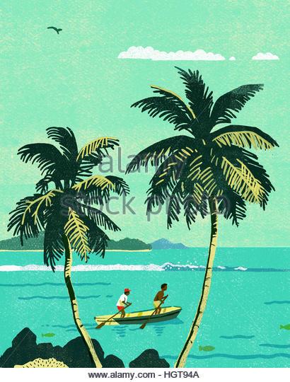 Two men standing in rowing boat on tropical ocean - Stock-Bilder