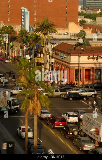 Usa Los Angeles California Walk Of Fame Hollywood Boulevard Hollywood Street Traffic City Cars Palm Trees United - Stock Image
