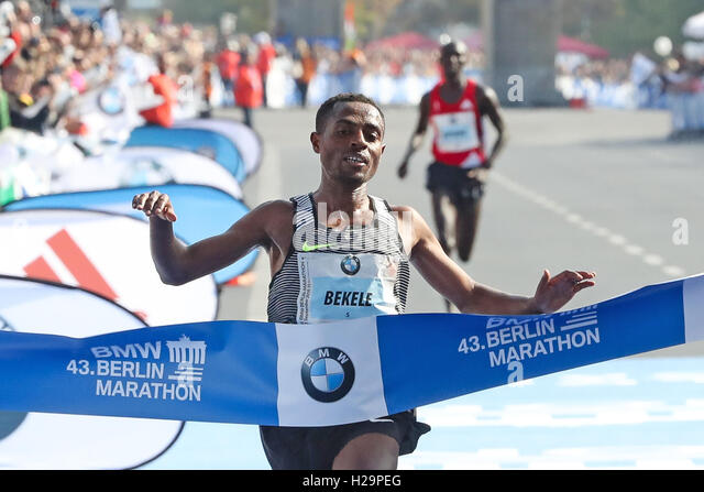 Berlin, Germany. 25th Sep, 2016. Kenenisa Bekele (ETH) won the 43rd Berlin Marathon, held in Berlin Be. Credit: - Stock Image