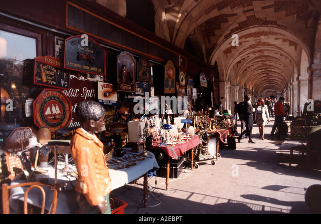Paris France Place des Vosges Antique shop Acades - Stock Image