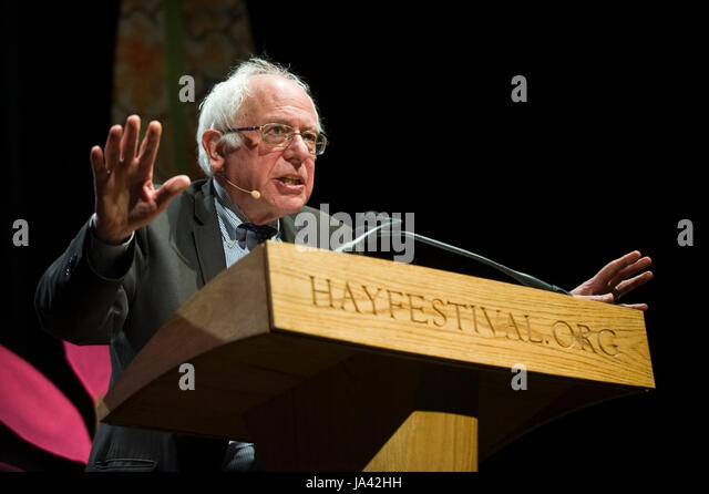 US Senator Bernie Sanders giving the 2017 Eric Hobsbawm Lecture at Hay Festival Hay-on-Wye Powys Wales UK - Stock Image