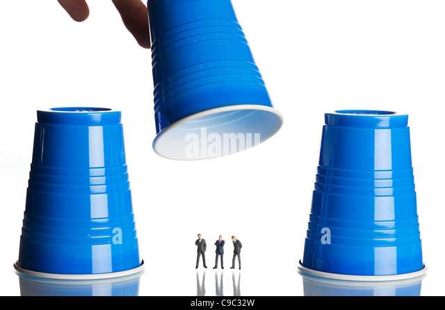 Business shell game - Stock Image