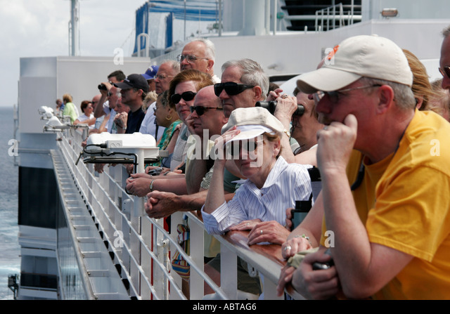 BVI Tortola Holland America Caribbean cruise ms Noordam Observation Deck - Stock Image