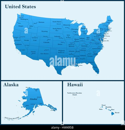 United States Map Alaska And Hawaii Stock Photos Amp United