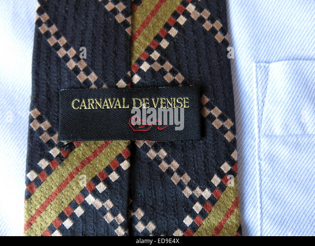 Interesting vintage  Carnaval De Venise tie, male neckware in silk - Stock Image