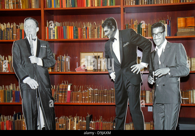 Nevada Las Vegas UNLV University of Nevada campus school Lied Library Gaming Collection books cut outs Frank Sinatra - Stock Image
