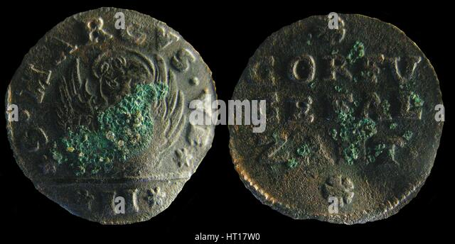 Venetian colonial gazzetta (coin) of the Ionian Islands. (A gazzetta = 2 soldi), 1710-1724. Artist: Numismatic, - Stock Image