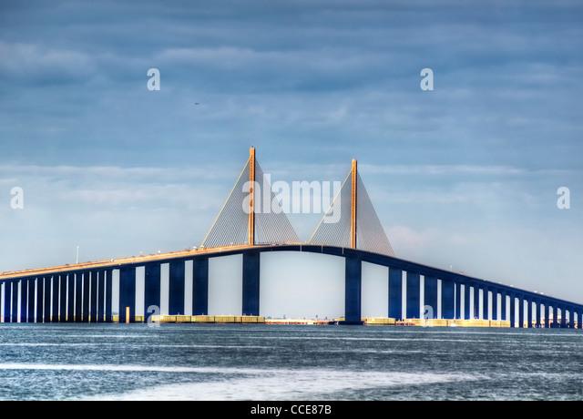 Sunshine Skyway in St. Petersburg, Florida - Stock Image
