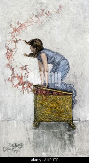 Pandora atop the opened box of evils from ancient Greek mythology - Stock Image