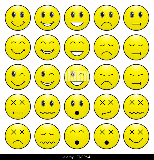Pack of faces (emoticons) with various emotions expression - Stock-Bilder