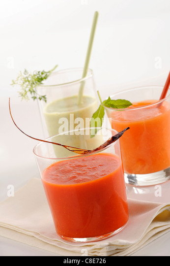 Assorted cold soups - Stock Image