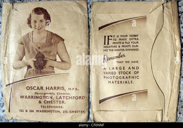 Oscar Harris shop film processing envelope, Latchford, Warrington, Cheshire, England, UK - Stock Image