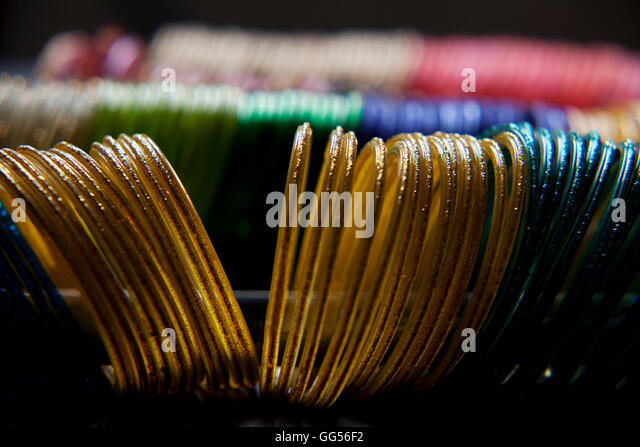 Close up of colorful bangles - Stock-Bilder