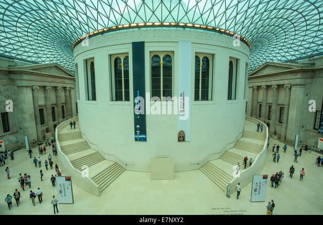 British, British Museum, London, England, UK, architecture, art, big, ceiling, columns, covered, culture, hall, - Stock Image