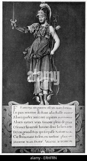 Francois I, patron of Arts and Letters.  Renaissance print glorifying the king and invoking the Roman deities Mars, - Stock-Bilder