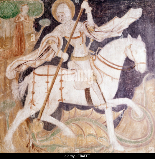 George, Saint, + circa 303, martyr, Holy Helper, ceiling painting, anonymous, fighting with the dragon, fight, monster, - Stock Image