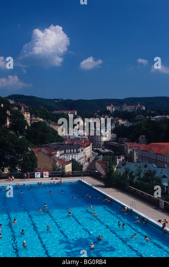 Overview from thermal bath, Karlovy Vary, West Bohemia, Czech Republic, Europe - Stock-Bilder