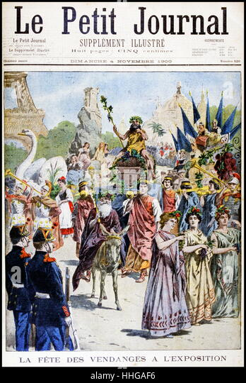 Procession celebrating the grape harvest, at the Exposition Universelle of 1900 - Stock Image