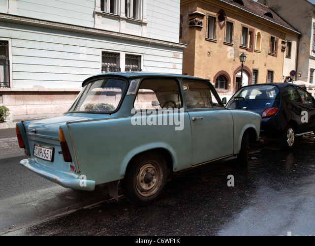 A Trabant  motorcar in a street in Buda, Budapest, Hungary - Stock Image