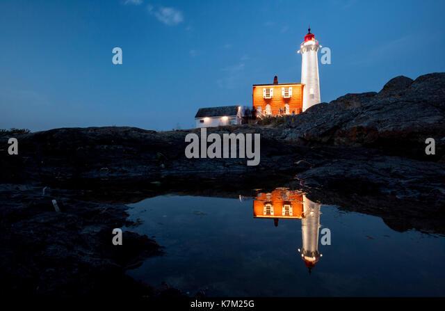 Fisgard Lighthouse at Night - Fort Rodd Hill, Victoria, Vancouver Island, British Columbia, Canada - Stock Image