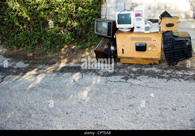 Old technology on street - Stock Image