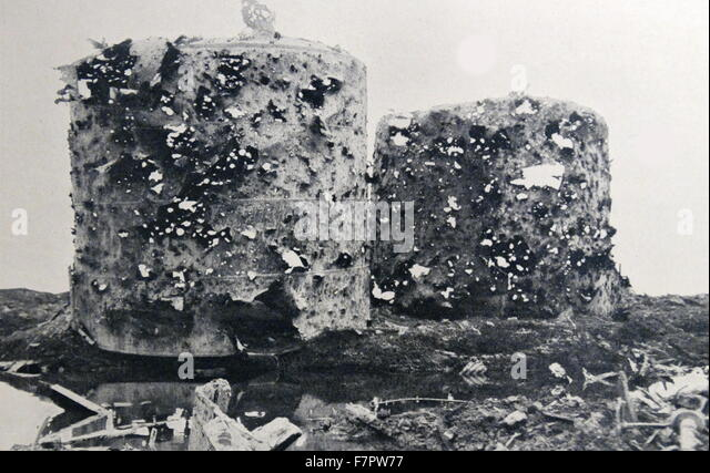 Industrial scale gas tanks destroyed during World war One 1916 - Stock Image