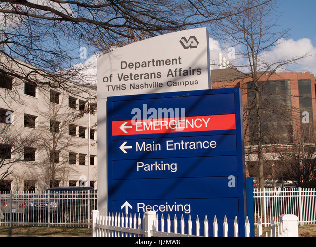 Department of Veterans Affairs Hospital. Nashville, Tennessee. Emergency sign. - Stock Image