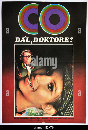 What's Up, Doc?Original Czechoslovak movie poster  for American film comedy with Barbra Streisand and Ryan O´Neal - Stock Image