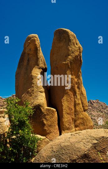 Impressive granite rocks in the Anti-Atlas or Lesser Atlas range, Southern Morocco, Morocco, Africa - Stock Image