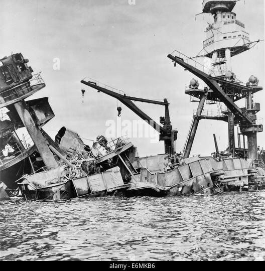 Wreckage of USS Arizona, Pearl Harbor, Hawaii, December 7, 1941 - Stock Image