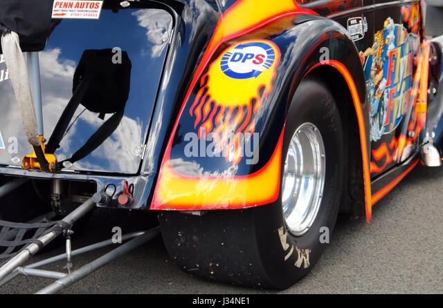 A hot rod at the Santa Pod raceway in England - Stock Image