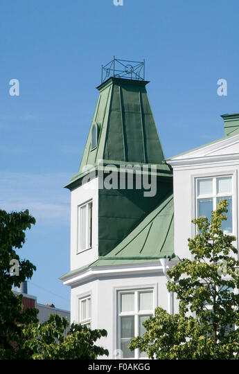 copper roof roofs green oxidized oxidised sweden swedish matterial  traditional cladding - Stock Image