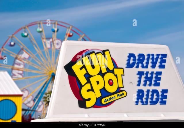 Fun Spot Orlando Action Park sign and ferris wheel off International Drive, Orlando Florida - Stock Image