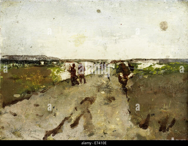 Landscape at Waalsdorp with soldiers on maneuvers - by George Hendrik Breitner, 1880 - 1923 - Stock Image