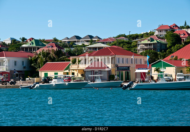 Trio of large tour and fishing boats at anchor Gustavia harbor, Saint Barthelemy - Stock Image
